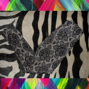 Gray Lace Print Leggings